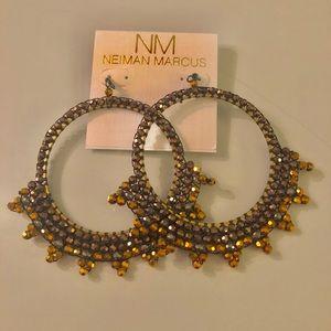 Nakamol black gold spiked hoop earrings